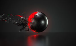 Abstract red ball covered with metal skin peeling off Stock Photo
