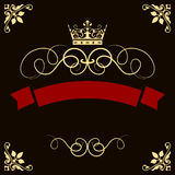 Abstract red banner with crown Stock Photo