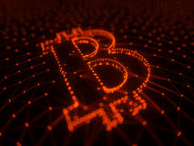 Abstract Red Bitcoin Sign Built as an Array of Transactions in Blockchain Conceptual 3d Illustration