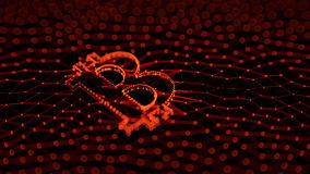 Abstract Red Bitcoin Sign Built as an Array of Transactions in Blockchain Conceptual 3d Illustration Royalty Free Stock Image