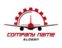 Abstract airplane logo on a white background. Abstract red and black airplane logo on a white background stock illustration