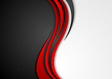 Abstract red black grey wavy tech background. Modern elegant waves vector graphic design Stock Photos