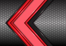 Abstract red black line arrow on hexagon mesh light design modern futuristic background vector. Illustration Vector Illustration