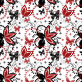 Abstract red black ornament seamless pattern on white Stock Photography