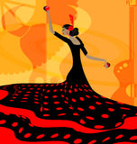Abstract red-black woman and flamenco. Abstract background and Spanish dancer in red-black dress stock illustration