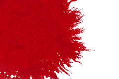 Abstract red blood ink watercolor splatter splash on white background, dangerous horror or medical health care Stock Photo