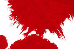 Abstract red blood ink watercolor splatter splash on white background, dangerous horror or medical health care Stock Photography