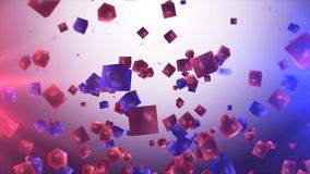 Abstract red and blue cubes in the air. Royalty Free Stock Images