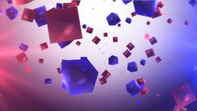 Abstract red and blue cubes. 3d illustration of abstract red and blue cubes in the air.  Abstract background Royalty Free Stock Photo