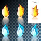 Abstract Red and Blue Flame Icon. Set isolated on transparent background. Illustration Royalty Free Stock Photo