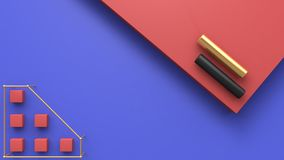 Abstract red blue floor gold and black tube 3d render. Ing royalty free illustration