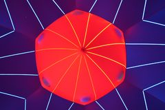 Abstract red and blue fractal lines pattern background. Shot in a illuminarium vector illustration