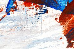 Abstract red and blue hand painted acrylic background. Creative abstract hand painted colorful background, close up fragment of acrylic painting on paper Stock Photo