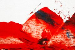 Abstract red and blue hand painted acrylic background. Creative abstract hand painted colorful background, close up fragment of acrylic painting on paper Royalty Free Stock Photography