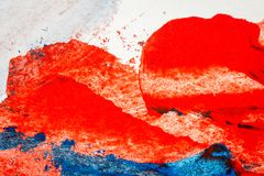 Abstract red and blue hand painted acrylic background. Creative abstract hand painted colorful background, close up fragment of acrylic painting on paper Stock Photos