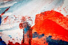 Abstract red and blue hand painted acrylic background. Creative abstract hand painted colorful background, close up fragment of acrylic painting on paper Stock Photography