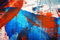 Abstract red and blue hand painted acrylic background. Creative abstract hand painted colorful background, close up fragment of acrylic painting on paper Royalty Free Stock Image