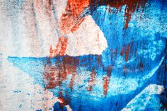 Abstract red and blue hand painted acrylic background. Creative abstract hand painted colorful background, close up fragment of acrylic painting on paper Royalty Free Stock Photos
