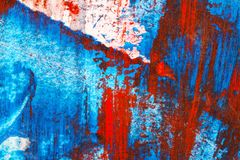 Abstract red and blue hand painted acrylic background. Creative abstract hand painted colorful background, close up fragment of acrylic painting on paper Royalty Free Stock Images