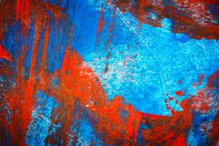 Abstract red and blue hand painted acrylic background. Creative abstract hand painted colorful background, close up fragment of acrylic painting on paper royalty free illustration