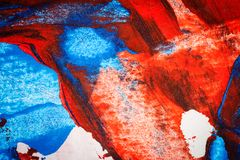 Abstract red and blue hand painted acrylic background. Creative abstract hand painted colorful background, close up fragment of acrylic painting on paper vector illustration