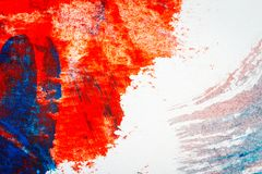 Abstract red and blue hand painted acrylic background. Creative abstract hand painted colorful background, close up fragment of acrylic painting on paper stock illustration