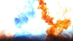 Abstract red and blue ink in water on white background stock video