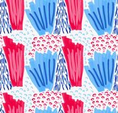 Abstract red and blue marker strokes with circles Stock Photography