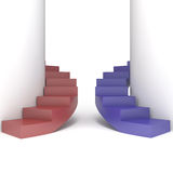 Abstract red and blue staircase Stock Photo