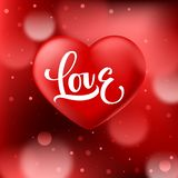 Abstract red bokeh background with smooth realistic heart and Love calligraphy royalty free illustration