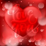 Abstract red bokeh background with smooth realistic heart vector illustration