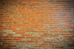 Abstract red brick old wall texture background. Ruins uneven cru Royalty Free Stock Images