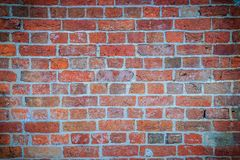 Abstract red brick old wall texture background. Ruins uneven cru Stock Images