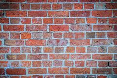 Abstract red brick old wall texture background. Ruins uneven cru. Mbling red brick wall background texture Royalty Free Stock Images