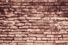 Abstract red brick old wall texture background. Ruins uneven cru. Mbling red brick wall background texture Stock Images