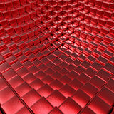 Abstract red brushed metallic cubes 3D background. 3D rendering of split-level blocks Stock Images