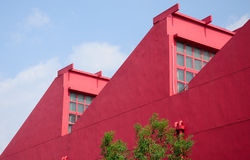Abstract Red building in Shanghai Stock Image