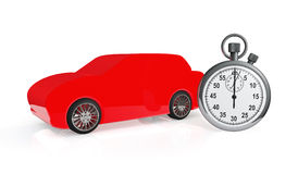 Abstract red car with stopwatch Stock Photo