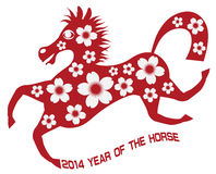 2014 Abstract Red Chinese Horse with Flower Illust. 2014 Abstract Red Chinese New Year of the Horse with Cherry Blossom Flower Motif and Text Isolated on White royalty free illustration