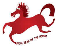 2014 Abstract Red Chinese Horse Illustration Royalty Free Stock Photography