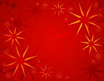 Abstract Red Christmas Background 2. A background illustration featuring a variety of decorative stars in red and gold set aganst red gradient background Royalty Free Stock Images