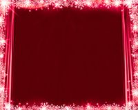 Abstract red christmas background silk curtains, snowflakes and glittering. Vector Illustration