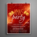 Abstract red christmas party event flyer design template vector illustration