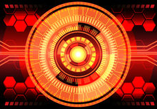 Abstract red circle center network technology design background vector. Stock Image