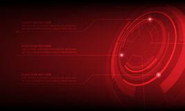 Abstract Red Circle digital technology background, futuristic structure elements concept background. Design Stock Photo