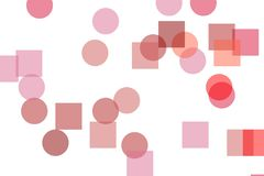 Abstract red circles squares illustration background. Abstract minimalist red illustration with circles squares useful as a background royalty free illustration