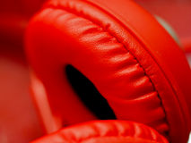 Abstract red color of headphone Stock Images