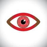 Abstract red color human eye sign with circuit in  Stock Photo