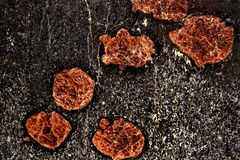 Abstract red crystals in black rock. Cross sectional view of large orange garnet crystal growth against black amphibolite riddled with cracks. Natural artwork royalty free stock photo