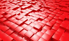 Abstract Red Cube Blocks Background 3d render.  vector illustration